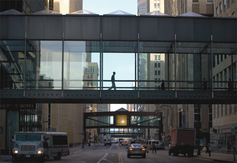 Minneapolis Skyways: elevated glass & steel bridges connect downtown