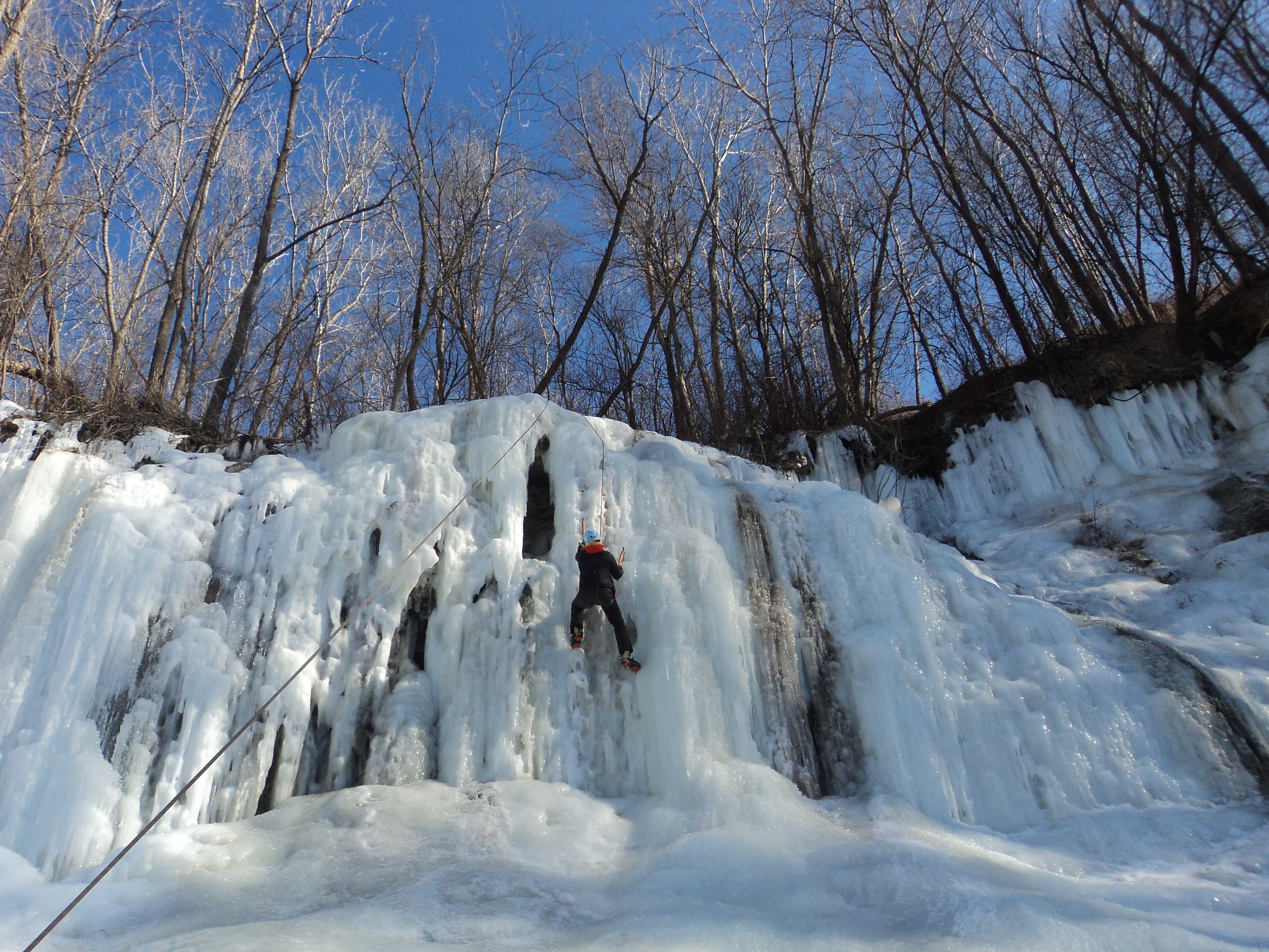 Ice-climbing at Lilydale Regional Park
