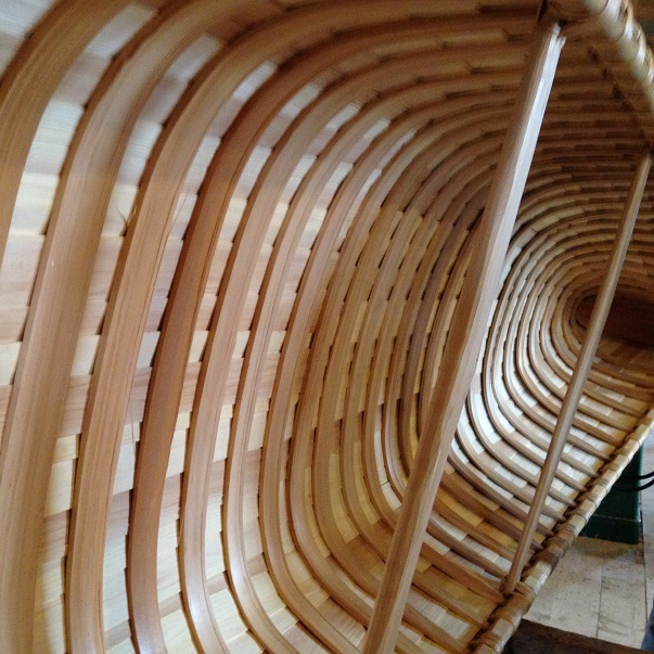 Building birch bark canoes